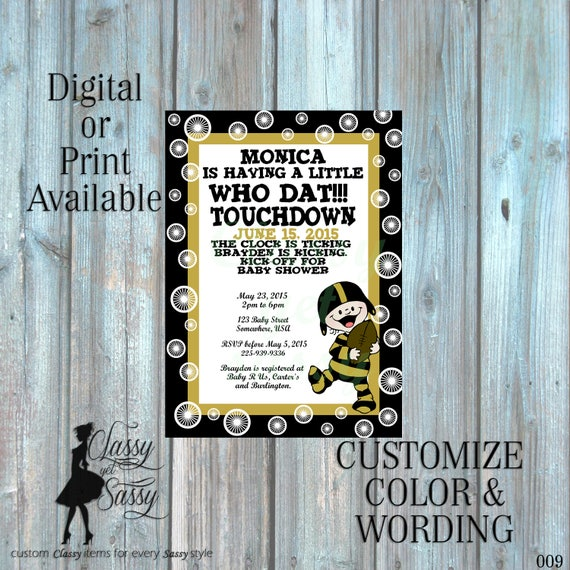 Saints Theme Baby Shower Invitation, New OrleansTheme baby SHower, Football Theme Baby Shower Black and Gold -009