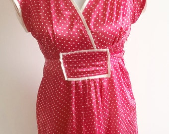Red and White spotty dress / self tie/  retro/ boho / summer