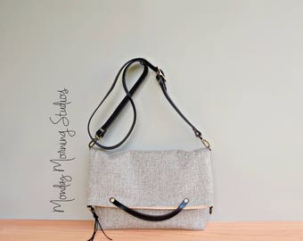 Business Top Handle Tote in Light Grey Tweed, Convertible Shoulder Bag with Detachable Leather Strap, Foldover Clutch, Hand Crafted in USA
