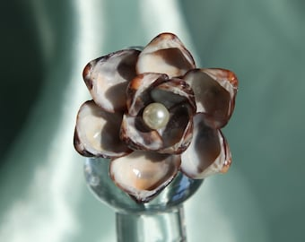 Brown Ark Shell Blossom RING inspired by Sailors Valentines