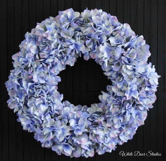Blue Lavender Spring Summer Hydrangea Front Door Wreath