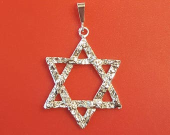 """Star Of David Sterling Silver Pendant Charm with Sterling Silver 18"""" chain -Handmade 925 Great Birthday gift !"""
