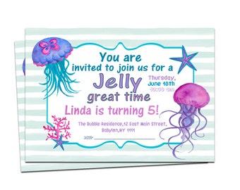 Under the Sea Invitation, Jellyfish Party Invitation, Nautical Party, Jelly Invitation, Watercolor Party Invitation, Printable Invitation