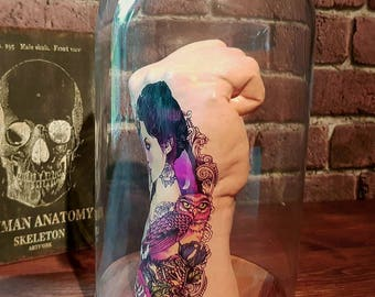 Ink hand statue/ tattoo hand/ glass dome hand statue/
