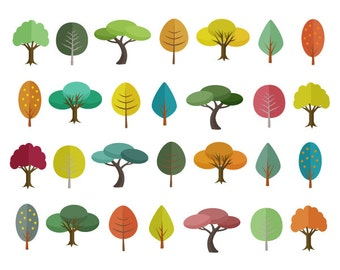 Tree Clipart Sale 60% off, Tree Clip Art, Digital Design, Autumn Clipart, Trees Clipart, Scrapbooking Supplies, Forest Clipart Set #308