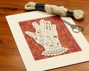 Lace glove wall art, Romanian Lace, Rustic wall decor, Crochet lace, Retro home decor, Housewarming gift, Wall art, Romantic home decoration
