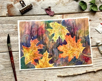 fall room decor // leaves painting, autumn leaf decor, watercolor leaves, thanksgiving decor