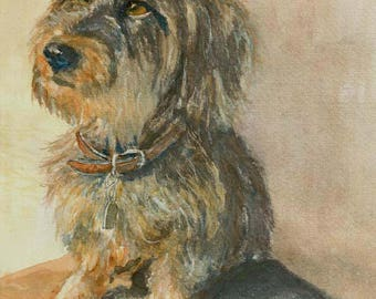 Terrier dog - watercolor art print mounted on wood panel - ready to hang