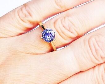 Tanzanite Brilliant Cut 14K Solitaire Ring