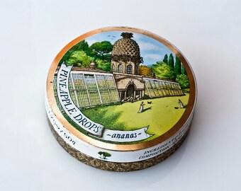 Tin Candy box, Edwardian Style, Period English Round Small Tin Box, Pineapple tin box, Ananas Tin Box,  Collectible Tin Box, made in England