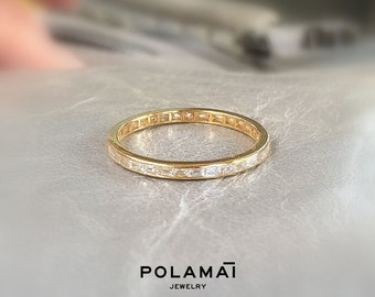 Baguette Diamond Full Eternity Ring 18k 0.50 ctw G VS . Invisible Channel Setting . Wedding Band . Solid Yellow Rose White Gold . Polamai