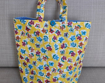 Yellow Flowers and Butterflies Purse