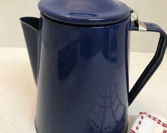 Dark Blue Enamelware Coffee Pot with Tiny White Speckles - 2 Quart