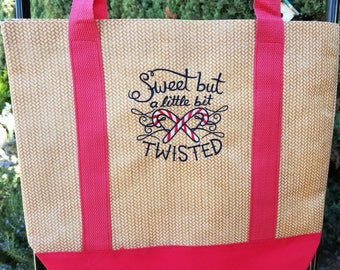 Christmas Tote Bag, Holiday Tote Bag, Large Embroidered Tote bag, Embroidered Shopping bag, Holiday Shopping Bag, Gift Bag by Sew4MyLoves