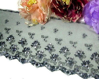 "DN520- 7 "" Black Embroidered Tulle Mesh Lace Trim by Yard"