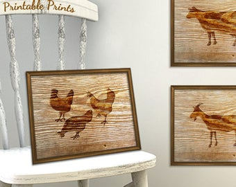 Digital Chickens Print, Rustic Wall Art Print, Faux Wood Printable Art Print Instant Download, Farmhouse Decor, Chicken Kitchen Decor
