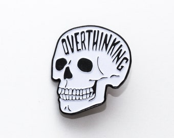 Overthinking Enamel Pin. Glow In The Dark Skull Pin. Anxiety