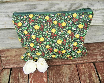 Small Yellow flowers Cotton  Make Up Bag, Zipper Pouch, Cosmetic Bag, Handmade, Cotton, Women, Organize