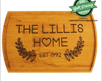 Wood Cutting Board: TRADITION FAMILY HOME for wedding gift, bridal shower gift, mother's day, Christmas or Hanukkah, or anniversary