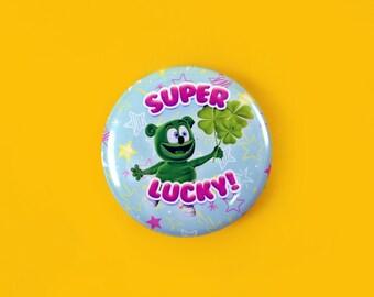 Super Lucky! Gummibär (The Gummy Bear) Saint Patrick's Day Button