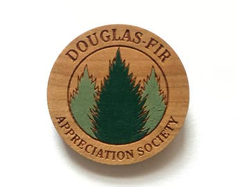 Laser cut wood brooch - Douglas Fir Appreciation Society Twin Peaks Agent Cooper handpainted