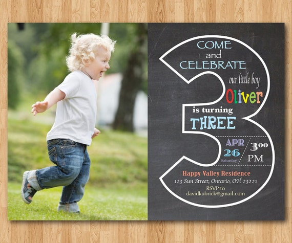 Chalkboard 3rd birthday invitation with picture third like this item filmwisefo Images