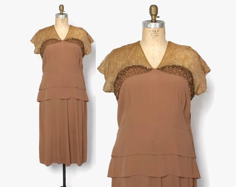 Vintage 40s Beaded Cocktail Dress / 1940s Cocoa Rayon Crepe & Lace Party Dress L - XL