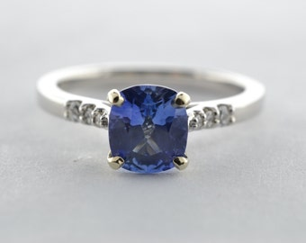14K White Gold 1.30ct Blue Sapphire and Diamond Ring - Size 6.75