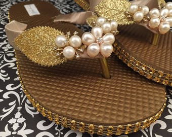 Gold Bridal Flip Flops, Wedding Flip Flops, Gold Pearl Shoes, One of a Kind Shoes, Dancing Shoes, Gold Sandals, Beach Wedding Shoes Size 6/7