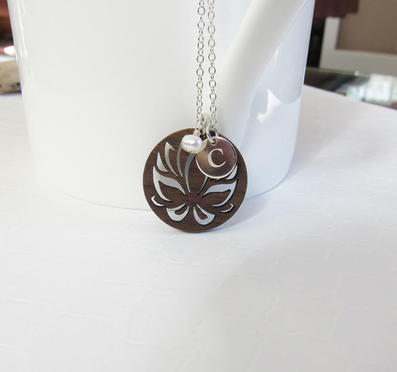 Lotus flower necklace initial pendant laser engraved wood zoom izmirmasajfo