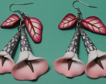 Polymer Clay Earrings Pink Calla Lily with Leaves