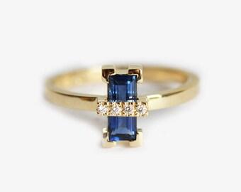 Modern Sapphire Ring, Geometric Engagement Ring, Modern Engagement Ring, Blue Sapphire Ring, Baguette Engagement Ring, Baguette Wedding Ring