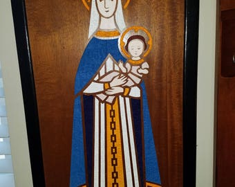 Carved Wooden Panel of Madonna and Child by Franz Grosz