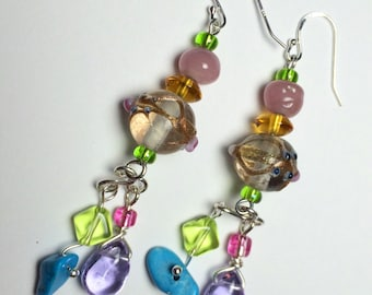 Dangle Earrings With Lampwork Glass, Pink Quartz and Turquoise