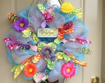 Spring deco mesh wreath, summer deco mesh wreath, spring wreath, summer wreath, Front Door  wreath, Year Round Wreath, Welcome Wreath