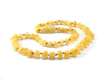 Amber Baltic Necklace Toddler Child Teething Baby Rounded Polished Butter Beads