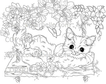 Instant Download Swing Kitty 300 Dpi Jpg Cat Colouring Light Commercial Use Digi Stamp Digital