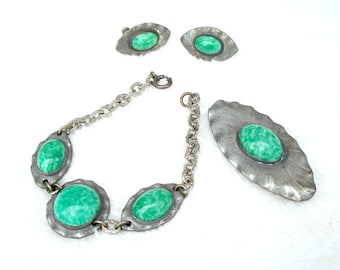 Green Peking Glass Bracelet Brooch Earrings Set Pewter Morley Crimi Arts Crafts Style 1950's Studio Unique
