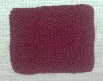 Hand Knit Dishcloth ~ Dark Red