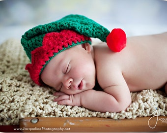 "Christmas Hat Crochet Pattern ""Santa's Little Elf Hat"" Sizes Baby to Adult, with Santa Hat Variation, pompom directions"