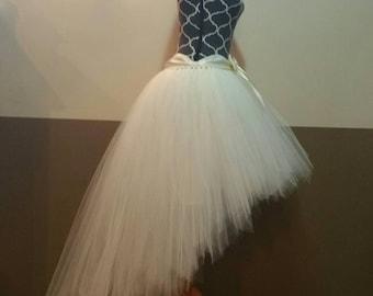 HI-LO tutu skirt / Fully LINED Ivory Tutu/ Adult tutu fairy cut edge (33 colors available)