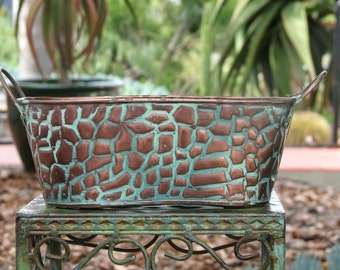 Plant Container Metal Vintage  Cheetah Design for two 4 inch plants