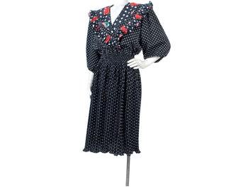 Vintage 70s Dress - Susan Freis Dress - Gypsy Dress - Boho Dress - Polka Dot Dress - 70s Freis Dress - Black Red White - I. Magnum - Ruffles
