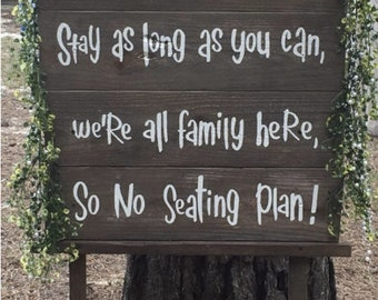 Wedding Seating Sign Vinyl Decal or Stencil