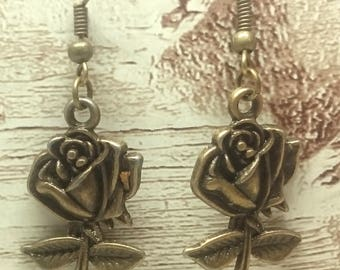 Antique Bronze Rose Charm Wired Hook Earrings