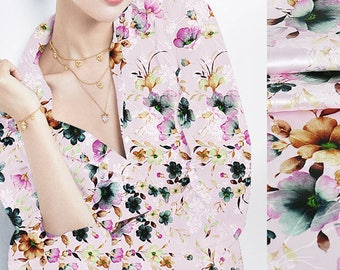 Floral Print Pink Stretch Silk Satin Jacquard Fabric for Apparel Width 44 inch