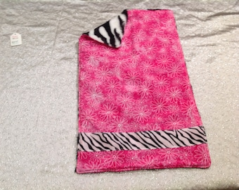 Pink zebra burp cloth