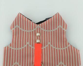 Custom dog harness, no choke, cat harness, Orange stripe and pearl