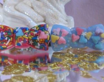 Rainbow Sprinkle Sparkle Bow Heart Sprinkle Epoxy Resin Ring Kawaii Jewelry Candy Jewelry Easter Basket Stuffer