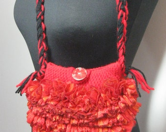 Glittery Red and Black Ruffle Purse with Black and Red Yarn ArmStrap/Sashay Ruffle Yarn HandBag/ Small or Childs Ruffle Purse/ with PolkaDot